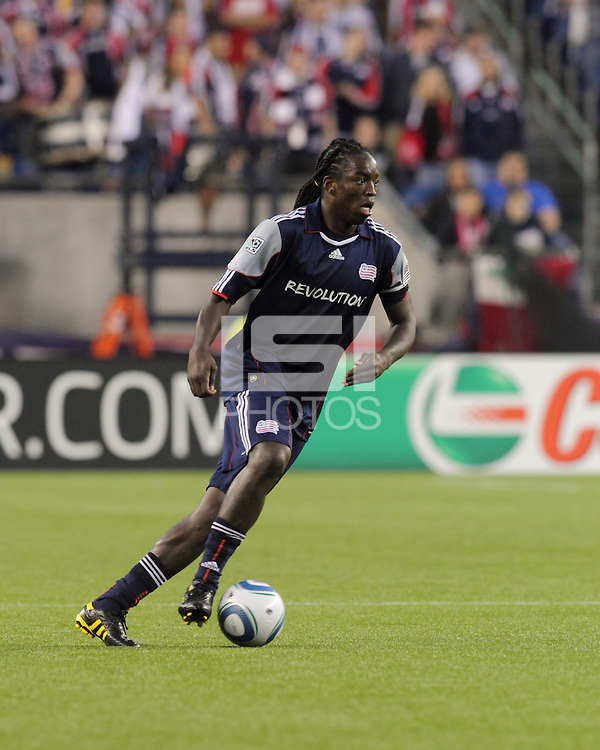 New England Revolution midfielder Shalrie Joseph (21) at midfield. The New England Revolution defeated the New York Red Bulls, 3-2, at Gillette Stadium on May 29, 2010.