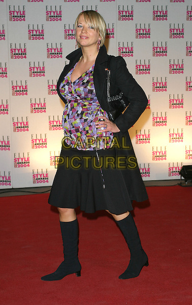 SARA COX.Elle Style Awards at the Natural History Museum.16 February 2004.full length, full-length, purple print top, black jacket, skirt, knee high boots, pregnant.www.capitalpictures.com.sales@capitalpictures.com.©Capital Pictures