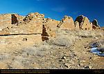 Pueblo del Arroyo Chacoan Great House, Anasazi Hisatsinom Ancestral Pueblo Site, Chaco Culture National Historical Park, Chaco Canyon, Nageezi, New Mexico