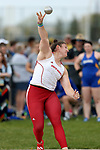 FARGO, ND - MAY 12: Danielle Waldner from the University of South Dakota throws the shot during the women's shot put at the 2017 Summit League Outdoor Championship Friday afternoon at Ellig Sports Complex in Fargo, ND. (Photo by Dave Eggen/Inertia)