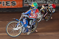 Heat 14: Jonas Davidsson (green) and Billy Janniro (red) - Coventry Bees vs Lakeside Hammers - Craven Shield Final 2nd Leg at Brandon, Coventry - 24/10/08 - MANDATORY CREDIT: Rob Newell/TGSPHOTO