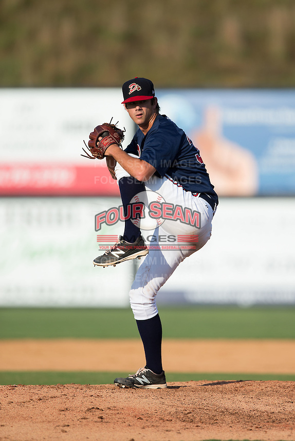 Danville Braves relief pitcher Taylor Cockrell (34) in action against the Pulaski Yankees at American Legion Post 325 Field on July 31, 2016 in Danville, Virginia.  The Yankees defeated the Braves 8-3.  (Brian Westerholt/Four Seam Images)