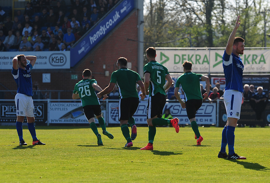 Lincoln City's Sean Raggett, right turns away to celebrate his goal<br /> <br /> Photographer Andrew Vaughan/CameraSport<br /> <br /> Vanarama National League - Eastleigh v Lincoln City - Saturday 8th April 2017 - Silverlake Stadium - Eastleigh<br /> <br /> World Copyright &copy; 2017 CameraSport. All rights reserved. 43 Linden Ave. Countesthorpe. Leicester. England. LE8 5PG - Tel: +44 (0) 116 277 4147 - admin@camerasport.com - www.camerasport.com