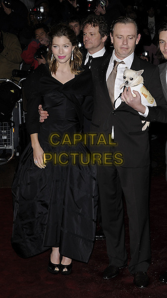 "JESSICA BIEL, COLIN FIRTH & STEPHAN ELLIOTT.At the UK film premiere of ""Easy Virtue"" during the BFI 52nd London Film Festival, London, England, .October 28th 2008. .LFF full length black suit dog animal pet stephen steven  dress gown jacket.CAP/CAN.©Can Nguyen/Capital Pictures."