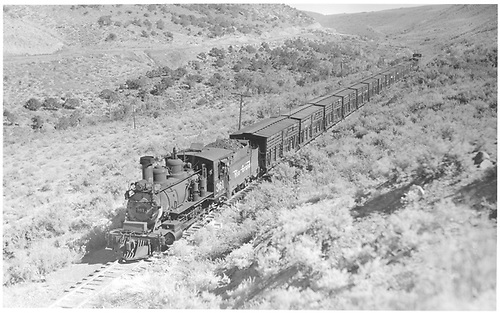 #361 pulling a 16-car stock train downgrade and west of Cerro Summit.<br /> D&amp;RGW  Cerro Summit, CO  Taken by Perry, Otto C. - 9/26/1942