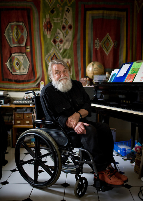 LINCOLNSHIRE, UK - Legendary musician Robert Wyatt at home.