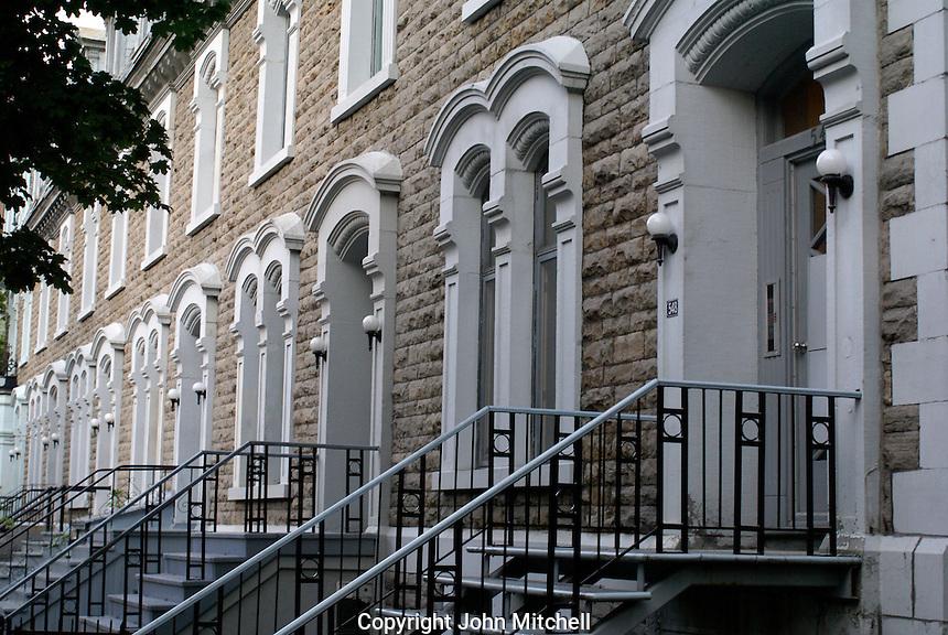 Row of doorways of an old building in Montreal, Quebec, Canada