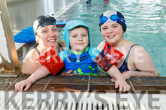 Lesley and Ryan O'Callaghan and Charley Harris enjoying the pool for the 24 hour Swimathon in aid Chloe's Journey and Action for Amber in the Tralee Sports Complex on Saturday.