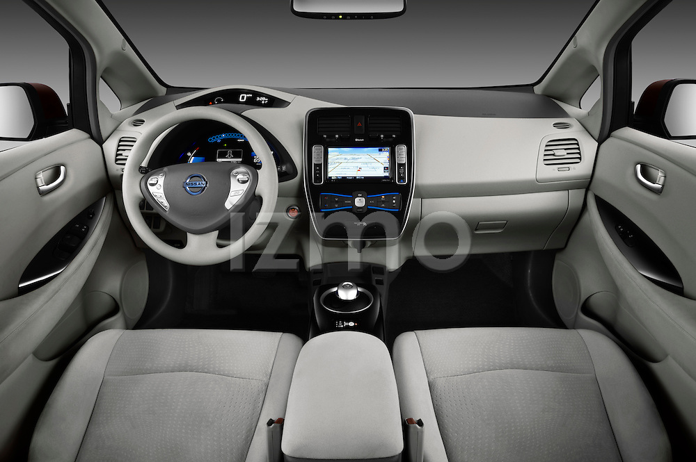 Straight dashboard view of a 2011 Nissan Leaf SL