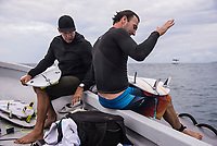 NAMOTU, Fiji (Tuesday, June 6, 2017) Joel Parkinson (AUS)  with Luke Egan (AUS) - The Outerknown Fiji Pro, Stop No. 5 on the 2017 World Surf League (WSL) Championship Tour (CT), has been called OFF for the day due to the inconsistent and dropping swell on offer. Event officials are closely monitoring a long period swell that is forecast to arrive at the end of the week. <br /> <br /> The swell had dropped further  overnight and the cross shore winds were roughing up the ocean surface. Surf was in the three-to-five foot range at Cloudbreak with the odd six foot set with  really big lulls between sets so the event was called off for the day. <br /> <br /> Photo: joliphotos.com