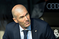 MADRID-ESPAÑA, 25-08-2019: Zinedin Zidane durante partido de la Liga de España, Real Madrid y Valladolid en el estadio Santiago Bernabeu de la ciudad de Madrid, España. / Zinedin Zidane, during a match between Real Madrid and Valladolid for the Liga of Spain in the Santiago Bernabeu stadium in Madrid, Spain Photo: ChakanaNews / Patricio Realpe / VizzorImage.