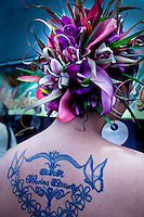 Tropical flower headrest at a the Merri Monarch Festival in Hilo, Hawaii