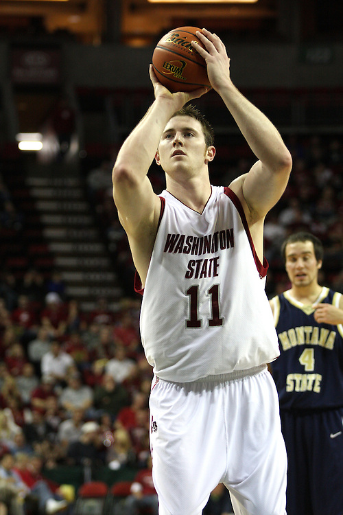 Aron Baynes, Washington State University senior center, shoots a free throw during a game on December 13, 2008, at Key Arena in Seattle, Washington, against Montana State.  The Cougars defeated Montana State in the game 70-51.