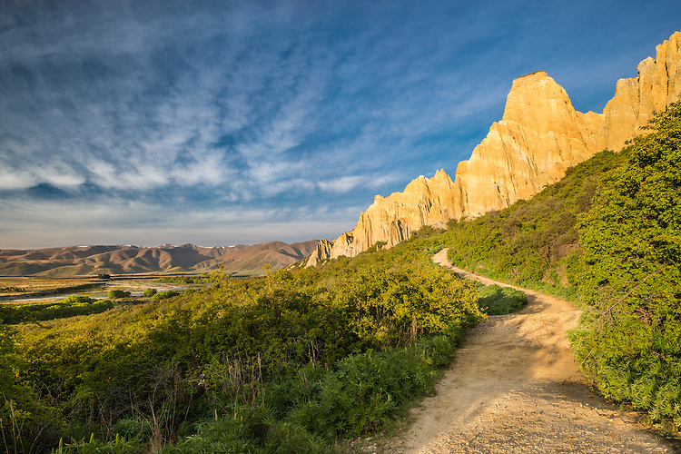 The Clay Cliffs, early morning, South Canterbury, New Zealand - stock photo, canvas, fine art print