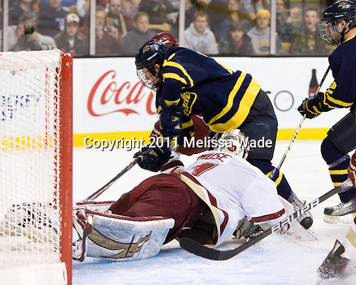 John Muse (BC - 1), Rhett Bly (Merrimack - 27), Brandon Brodhag (Merrimack - 12) - The Boston College Eagles defeated the Merrimack College Warriors 5-3 to win the Hockey East championship for the tenth time on Saturday, March 19, 2011, at TD Garden in Boston, Massachusetts.
