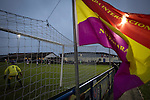 City of Liverpool 6 Holker Old Boys 1, 10/12/2016. Delta Taxis Stadium, North West Counties League Division One. A club flag flutters as the first-half action goes on at the Delta Taxis Stadium, Bootle, Merseyside as City of Liverpool hosted Holker Old Boys in a North West County Counties division one match. Founded in 2015, and aiming to be the premier non-League club in Liverpool, City were admitted to the League at the start of the 2016-17 season and were using Bootle FC's ground for home matches. A 6-1 victory over their visitors took 'the Purps' to the top of the division, in a match watched by 483 spectators. Photo by Colin McPherson.