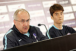 South Korea's coach Ulrich Stielike (l) with his player Ki Sungyueng in press conference during previous friendly match. May 31,2016.(ALTERPHOTOS/Acero)