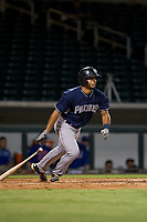 AZL Padres third baseman Luis Roman (28) hustles down the first base line against the AZL Cubs on August 28, 2017 at Sloan Park in Mesa, Arizona. AZL Cubs defeated the AZL Padres 2 9-4. (Zachary Lucy/Four Seam Images)