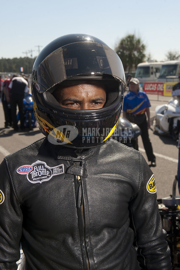 Mar. 12, 2011; Gainesville, FL, USA; NHRA pro stock motorcycle rider Redell Harris during qualifying for the Gatornationals at Gainesville Raceway. Mandatory Credit: Mark J. Rebilas-.