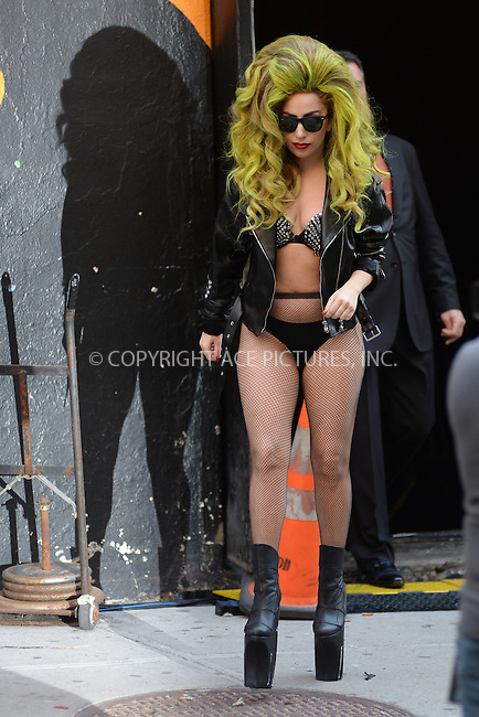 WWW.ACEPIXS.COM <br /> April 2, 2014 New York City<br /> <br /> Lady Gaga walks down 54th St to visit the Late Show with David Letterman from the Roseland Ballroom in Manhattan on April 2, 2014 in New York City.<br /> <br /> Please byline: Kristin Callahan  <br /> <br /> ACEPIXS.COM<br /> Ace Pictures, Inc<br /> tel: (212) 243 8787 or (646) 769 0430<br /> e-mail: info@acepixs.com<br /> web: http://www.acepixs.com