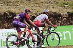 The breakaway including Jetse Bol (NED) Burgos-BH and Jose Herrada (ESP) Cofidis still in the lead on the final Cat 1 climb up to Observatorio Astrofisico de Javalambre during Stage 5 of La Vuelta 2019 running 170.7km from L'Eliana to Observatorio Astrofisico de Javalambre, Spain. 28th August 2019.<br />