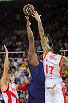 League ACB-ENDESA 2017/2018. Game: 1.<br /> FC Barcelona Lassa vs Baskonia: 87-82.<br /> Kevin Seraphin vs Vincent Poirier.