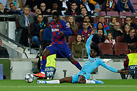 5th November 2019; Camp Nou, Barcelona, Catalonia, Spain; UEFA Champions League Football, Barcelona versus Slavia Prague;  Dembele of Barca skips away from the slide tackle from Olayinka of Prague - Editorial Use