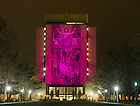 Apr. 12, 2013; Relay for Life, 2013: Word of Life Mural is lit with pink light...Photo by Matt Cashore/University of Notre Dame