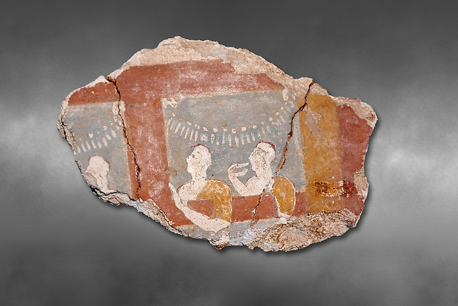 Mycenaean fresco wall painting of three women, Ramp House, Mycenae Acropolis, Greece Cat No 1015. National Archaeological Museum, Athens. Grey art Background <br /> <br /> This 14th Cent BC Mycenaean fresco fragment depicts three women looking out of a window. The scene is festive and the veneration gestures of the women suggest that they are watching a religiuos procession through the window.