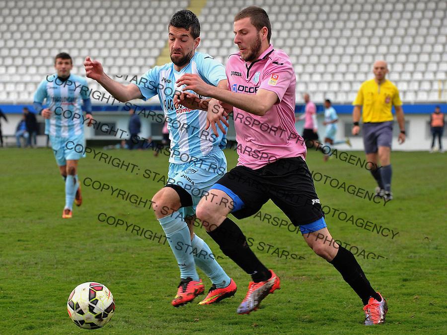 Fudbal Super liga season 2014-2015<br /> Novi Pazar v OFK Beograd<br /> Nemanja Antonov (#3) OFK Beograd u duelu sa Filip Arsenijevic (#11) FK Novi Pazar<br /> Novi Pazar, 14. 3. 2015<br /> foto: Emir Sadovic/Starsportphoto &copy;