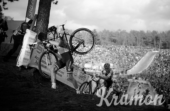 "Sven Nys (BEL/Crelan-AAdrinks) climbing out of ""The Pit""<br /> <br /> GP Zonhoven 2014"