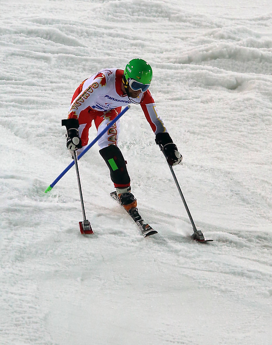 13/03/2014. Canadian Matt Hallat competes in the men's standing slalom event at the Sochi 2014 Paralympic Winter Games in Sochi Russia. (Photo Scott Grant/Canadian Paralympic Committee)