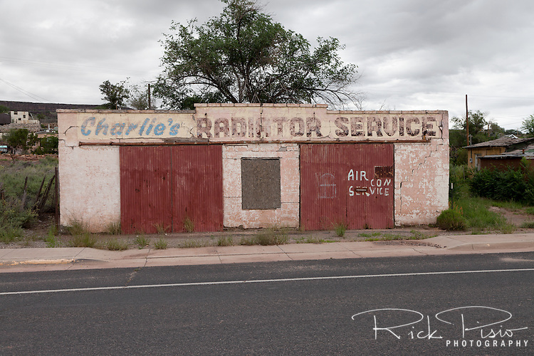 The defunct Charlie's Radiator Service along Route 66 in Grants, New Mexico.