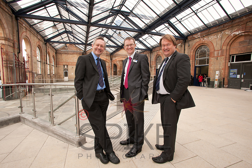 Pictured from left: Leicester Mayor Sir Peter Soulsby, David Horne, managing director of East Midlands Trains and Spencer Gibbens of Network Rail