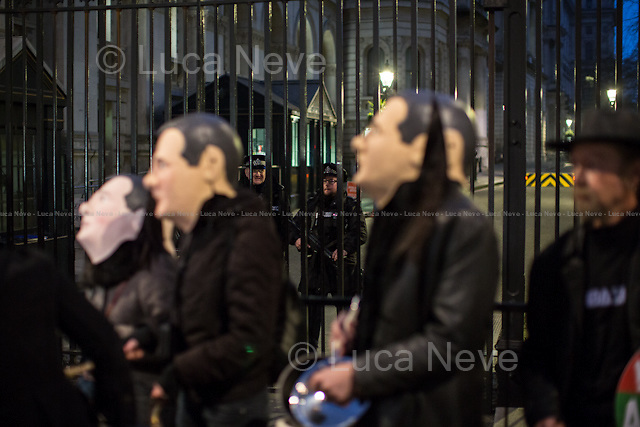London, 18/03/2015. The People's Assembly Against Austerity held a 'Pots & Pans' demonstration outside the gates of Downing Street to protest against the Budget 2015 presented during the day by the Chancellor of the Exchequer, George Osborne.