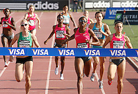 Jemma Simpson(left) 2:01.58, Hazel Clark(center) 2:01.40 ,Christin Wurth-Thomas(right) 2:01.58 race to the finish line in the 800m at the Adidas Track Classic 2009 on Saturday, May 16, 2009. Photo by Errol Anderson, The Sporting Image.net