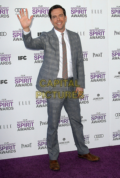 Ed Helms.2012 Film Independent Spirit Awards held at Santa Monica Beach, Santa Monica, California, USA, .25th February 2012..indie indies full length suit hand waving grey gray tie white shirt red .CAP/ADM/KB.©Kevan Brooks/AdMedia/Capital Pictures.