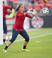 02 June 2013: U.S Women's National goalkeeper Jill Loyden #21 takes warm-up during an International Friendly soccer match between the U.S. Women's National Soccer Team and the Canadian Women's National Soccer Team at BMO Field in Toronto, Ontario.<br /> The U.S. Women's National Team Won 3-0.