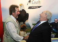 27/1/2012                              ***** No Fee Photos ******.Lothar Muschketat with a Bald Eagle, from  Eagles Flying, Sligo,with Minister of State at the Department of Tourism, Michael Ring TD, and  Maureen Ledwith  (MD Holiday World) at the Louth Stand at the opening of the Holiday World Show Dublin at the RDS Simmonscourt. Celebrating its 23rd year, the Holiday World Show is expected to attract a crowd of over 50,000 people who will pick up great holiday bargains for 2012.Pic Collins Photos