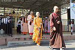 Daily routine in the Mahasi Sasana Yeiktha centre: Procession to lunch at 10:30 - foreign nuns