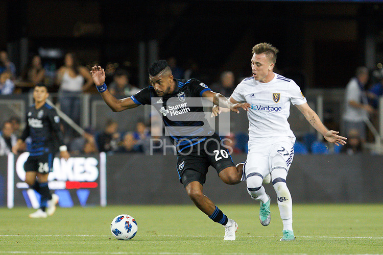 San Jose, CA - Saturday July 28, 2018: Anibal Godoy, Corey Baird during a Major League Soccer (MLS) match between the San Jose Earthquakes and Real Salt Lake at Avaya Stadium.