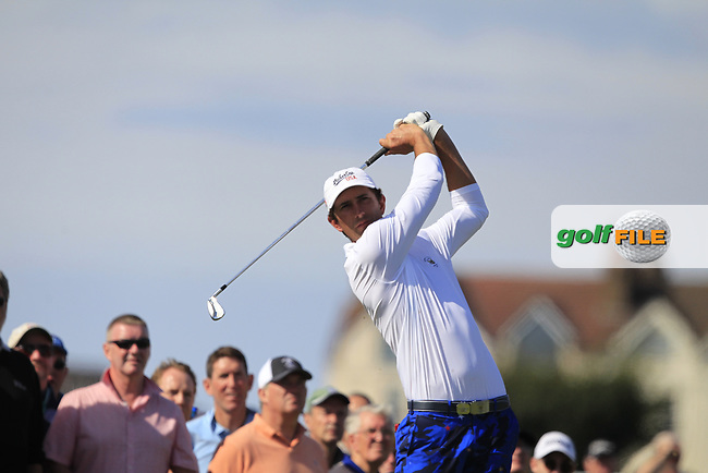 Stewart Hagestad (USA) on the 2nd tee during Day 2 Singles at the Walker Cup, Royal Liverpool Golf CLub, Hoylake, Cheshire, England. 08/09/2019.<br /> Picture Thos Caffrey / Golffile.ie<br /> <br /> All photo usage must carry mandatory copyright credit (© Golffile | Thos Caffrey)