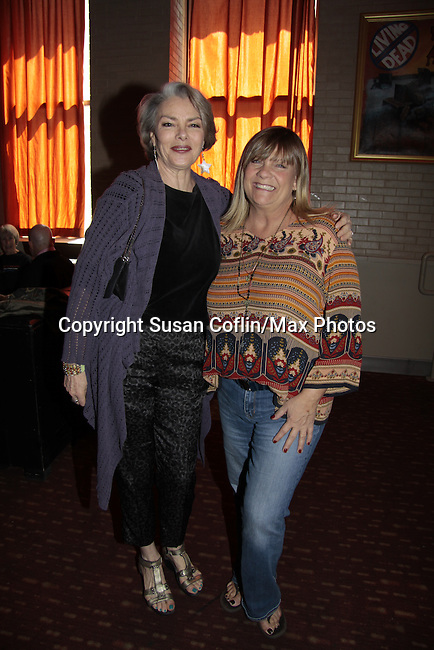 Kim Zimmer & Denise Pence - GL - 11th Annual Daytime Stars & Strikes Event for Autism - 2015 on April 19, 2015 hosted by Guiding Light's Jerry ver Dorn (& OLTL) and Liz Keifer at Bowlmor Lanes Times Square, New York City, New York. (Photos by Sue Coflin/Max Photos)