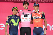 28th May 2017, Milan, Italy; Giro D Italia; stage 21 Monza to Milan; Podium of winner, 2nd and 3rd placed  Tom Dumoulin, Vincenzo Nibali and Nairo Quintana