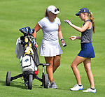 Briana McMinn (right) talks to her sister Alyssa McMinn on the second day of the Metropolitan Amateur Golf Association's 20th Junior Amateur Championship being held at the St. Clair Country Club in Belleville, IL on July 2, 2019. Last year, Alyssa McMinn won the Barbara A. Berkmeyer Girls' Championship, and she caddied for her sister this year. <br /> Tim Vizer/Special to STLhighschoolsports.com