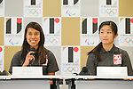 (L to R) <br /> Nicol David, <br /> Satomi Watanabe, <br /> AUGUST 7, 2015 : <br /> World Squash Federation (WSF) <br /> holds a media conference following its interview <br /> with the Tokyo 2020 Organising Committee in Tokyo Japan. <br /> (Photo by YUTAKA/AFLO SPORT)
