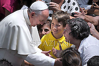 Pope Francis  during his first Angelus prayer in front of his summer residence in Castel Gandolfo,  July 14, 2013