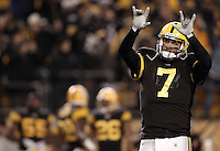 PITTSBURGH, PA - DECEMBER 08: Ben Roethlisberger #7 of the Pittsburgh Steelers celebrates following his 79 yard touchdown pass to teammate Antonio Brown #84 against the Cleveland Browns during the game on December 8, 2011 at Heinz Field in Pittsburgh, Pennsylvania.  (Photo by Jared Wickerham/Getty Images)