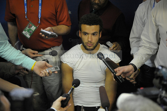 Kentucky Wildcats quarterback Matt Roark (3) is interviewed after the University of Kentucky football game against Tennessee at Commonwealth Stadium in Lexington, Ky., on 11/26/11. Uk won the game 10-7. Photo by Mike Weaver   Staff