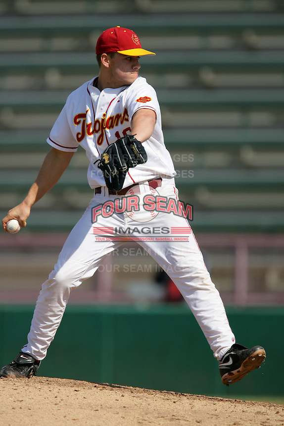 March 7 2010: Chad Smith of USC during game against University of New Mexico at Dedeaux Field in Los Angeles,CA.  Photo by Larry Goren/Four Seam Images